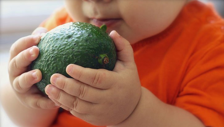 Baby eating foods and fruits